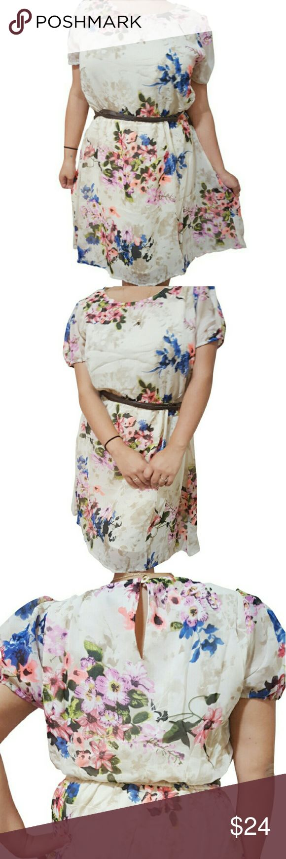 Plus Size Belted Floral Dress With Keyhole Back Plus Size Belted Floral Dress With Keyhole Back! Cream With Floral Pattern. Dresses Midi
