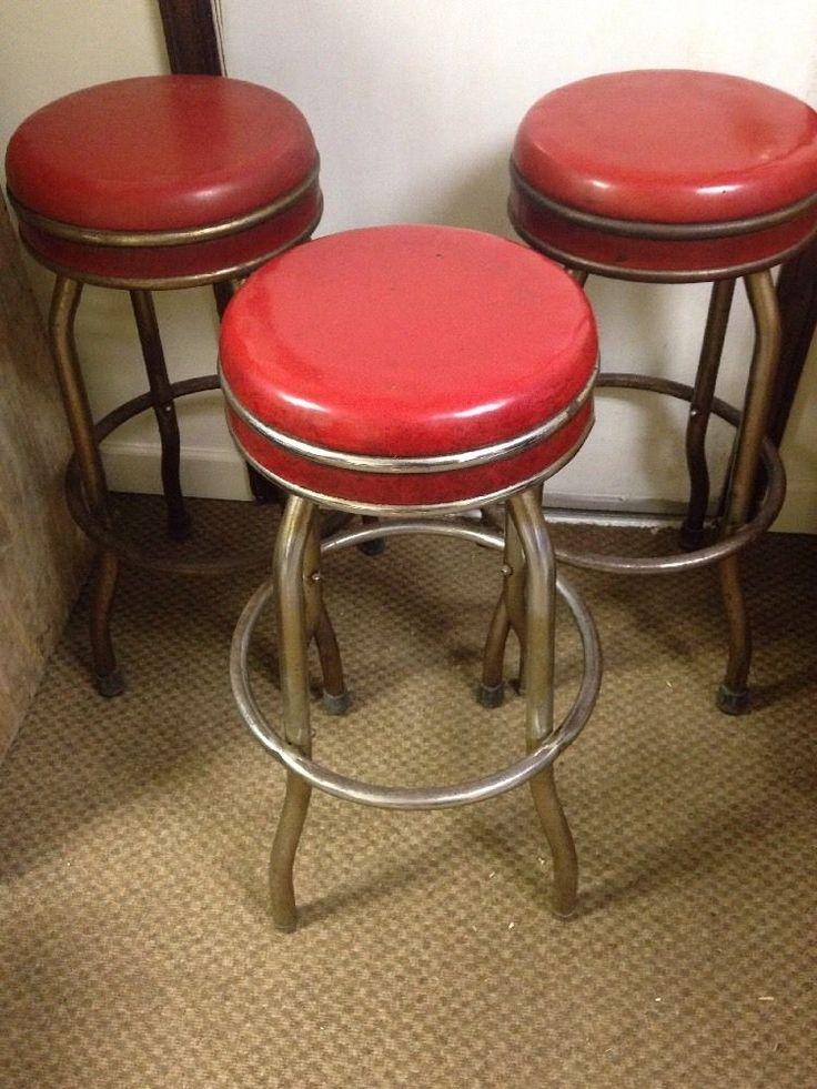 Vintage 1950 S 30 S Ruby Red Vinyl Chrome Swivel Bar