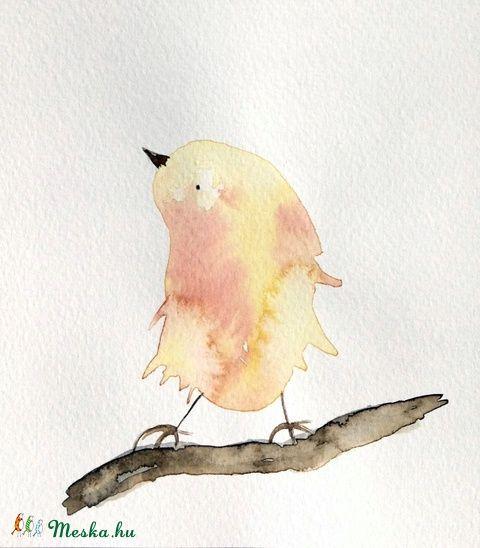 Ráérős madárka - akvarell, Baba-mama-gyerek, Dekoráció, Gyerekszoba, Kép, Meska
