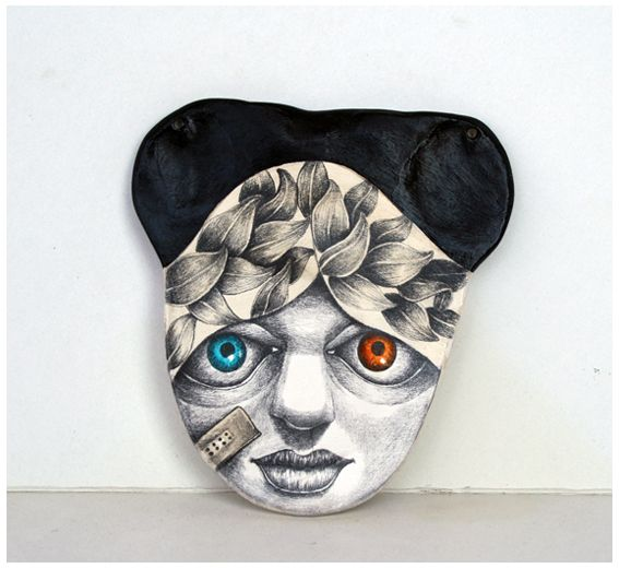 "work of the day...pendant conceptual jewelry ""generation androgynous series"" acrylic and coffee on porcelain finished"