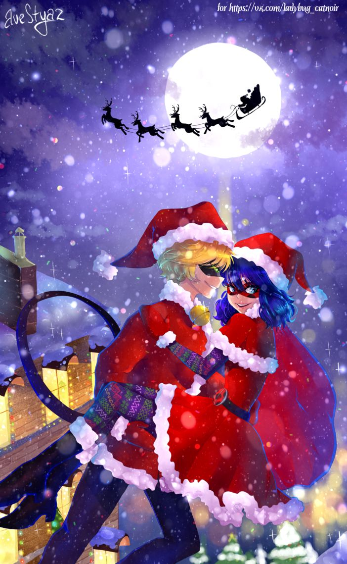 Merry Christmas~ (by AveStyaz, Miraculous Ladybug, Chat Noir)