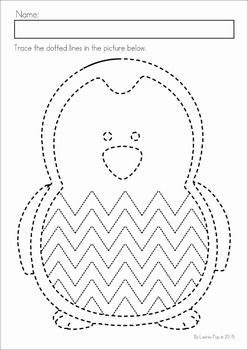 Winter Preschool Math and Literacy No Prep worksheets and activities. A page from the unit: fine motor tracing practice