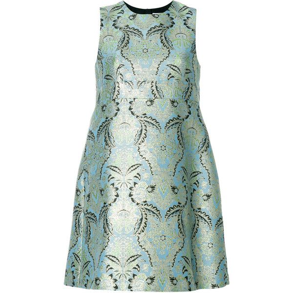MSGM jacquard flared dress ($745) ❤ liked on Polyvore featuring dresses, blue, sleeveless short dress, metallic short dress, short dresses, jacquard dress and green sleeveless dress