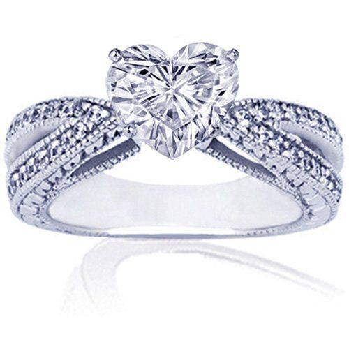 heart wedding ring  | 85 Ct Heart Shape Diamond Engagement Ring Pave 14K SI1-H Jewelry ...