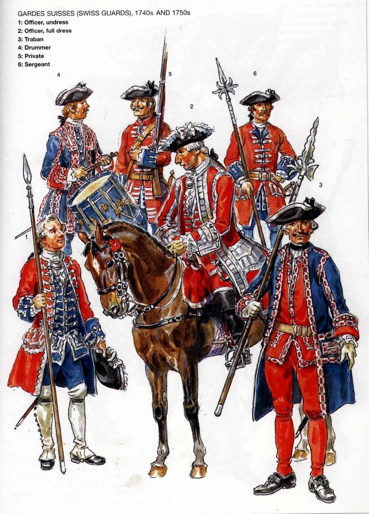 French; Gardes Suisses 1740s & 50s. 1.Officer Undress. 2. Officer Full Dress. 3. Traban(Escort to Senior Officers). 4 Drummer. 5. Private . 6. Sergeant