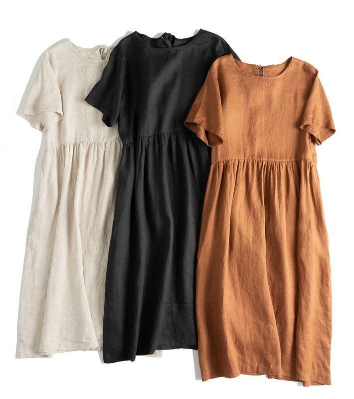 Losse pure kleuren Linnen Maxi-jurken Dames Casual Outfits Zomer Q17065