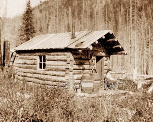 1890'S COWBOY AT THE LOG LINE SHACK WITH RIFLE
