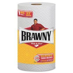 Brawny® Big Roll, Pick-A-Size Sheets, Case of 24 (GEP44511CT) Category: Household Paper Towels by Brawny®. $49.79. Item #: GEP44511CT. Brawny paper towels contain Pick-A-Size sheets. Perfect for smaller messes and still scrub tough messes and soak up spills. You choose what size paper towel you need depending on the size of the job. Two-ply roll of perforated paper towels deliver the same Brawny strength, durability, and reliability yet is soft on your skin. Each roll includes...