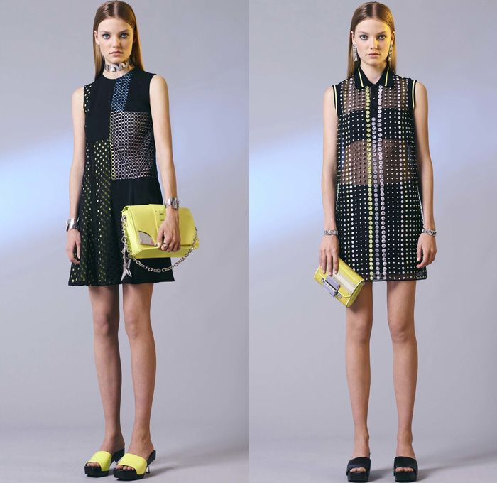 Versace 2017 Resort Cruise Pre-Spring Womens Lookbook Presentation - Contrast Stitching Denim Jeans Motorcycle Biker Leather Bomber Jacket Cropped Pants Platforms Miniskirt Colorblock Outerwear Trench Coat Polka Dots Vest Sleeveless Dress Lattice Embroidery Bedazzled Sheer Perforated Flare Stripes Sweater Jumper Accordion Pleats Halterneck Knit Flowers Floral Wrap Drapery Asymmetrical Hem Handbag Crossbody Backpack