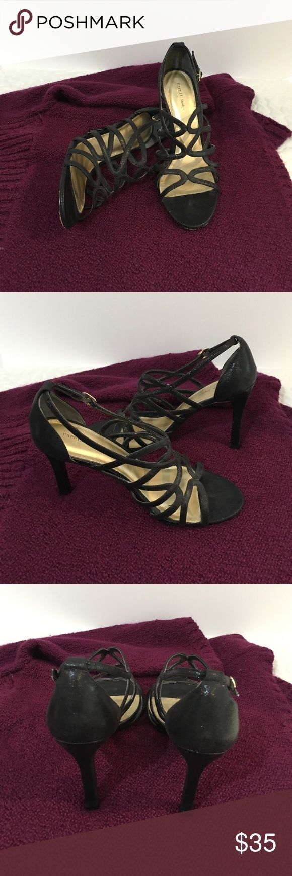 Patel Studio Black Strappy Shoes These were worn once. In good condition, gently used. They are a shiny/sparkly black in color. 4 inches heel. See pics for wear on bottom of shoe.  Great with a dress, slacks or even jeans. Papell Studio Shoes Heels