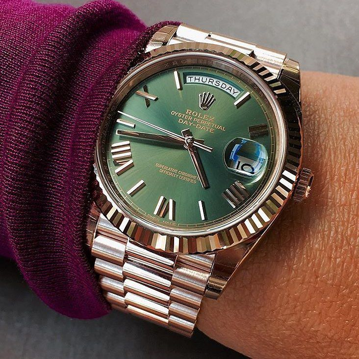 New Rose gold Green dial Day-Date 40 Thoughts on this combo? . @dailywatchfix…