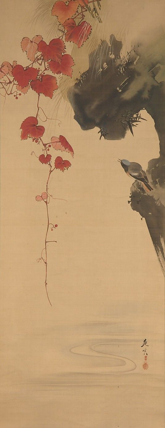 Leaves and Bird  Shibata Zeshin  (Japanese, 1807–1891)  Date: 19th century Culture: Japan Medium: Hanging scroll; ink on silk