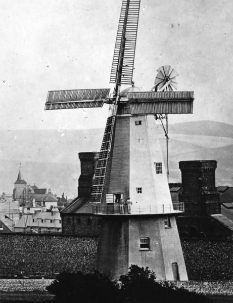 Shelly's Mill, Lewes c 1970. This Mill originally stood on the Base that survives in Pipes Passage but was later moved to the prison site seen here. It stopped working in around 1910 and the sails taken down before finally being demolished in 1922. _home_artefactual_digi_objects_Rest_1101606_141.jpg (461×599)
