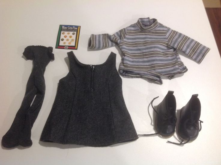 Pleasant Company American Girl Doll Clothes Gray Flannel School Jumper Outfit #AmericanGirl