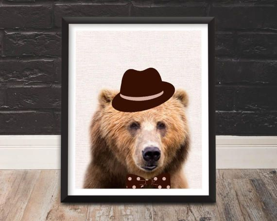 Bear Nursery, Bear Nursery Art, Bear Nursery Decor, Hipster Animals, Animals in Clothes, Hipster Wall Art, Hipster Gift, Bear Print, Wallart