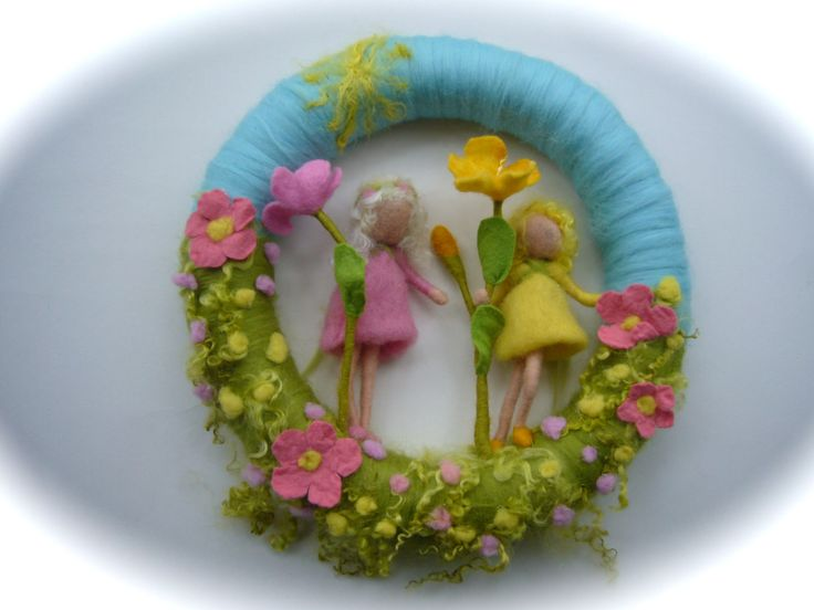 Flower-children Wreath. Felted .Waldorf. Wall van FilzArts op Etsy