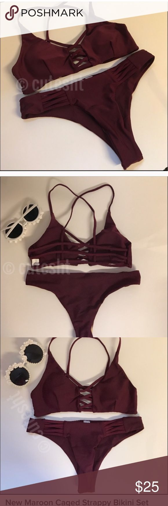 New Maroon Strappy Caged Cheeky Bikini Set Top and bottoms both true size small (4-6). Top has removable padding and can fit up to petite C. Bottoms are Cheeky and stretch. SHIPS FAST! :)  All photos with logos on it taken by myself* Swim Bikinis