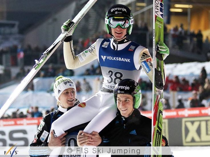 Peter Prevc won the competition in Vikersund with a new record jump on 250 m! Anders Fannemel and Noriaki Kasai came in second and third!