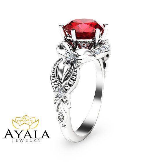 14K White Gold Ruby Engagement Ring-Unique Ruby by AyalaDiamonds