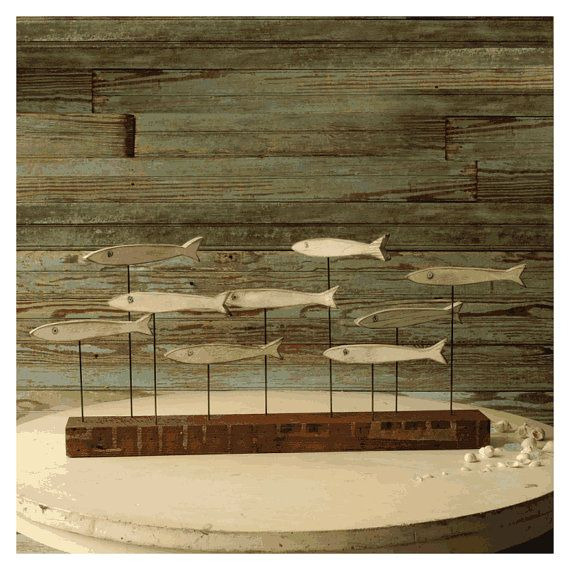 Fish School Sculpture Reclaimed Wood Industrial Art Block Rustic Metal Wooden via Etsy