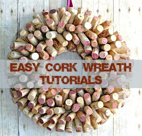 2 easy cork wreath tutorials video cork wreath wreath for Simple cork