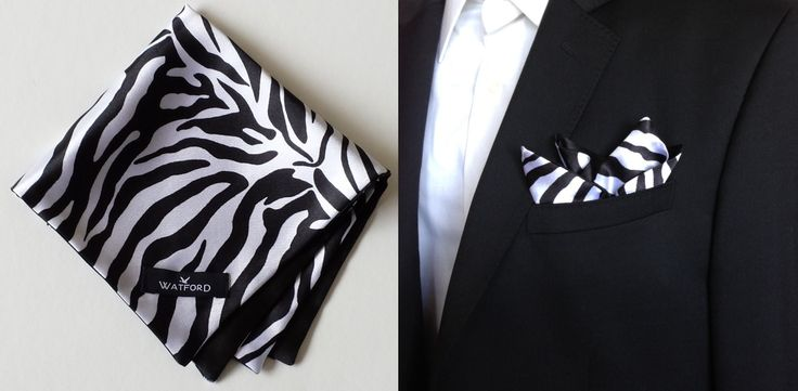 Zebra print in Satin with Black Satin lining - Pocket Square (Double-sided)