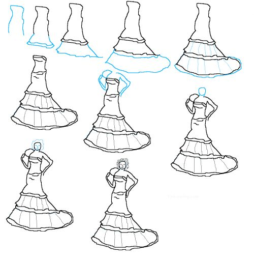 17 best images about fashion design sketches on pinterest for How to draw a wedding dress