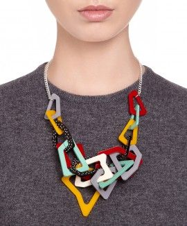 Colourful plastic accessories can turn a boring sweater into something special