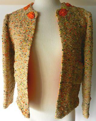 100% Authentic ~ CHANEL ~Vintage 1950's Orange Textured Tweed Jacket