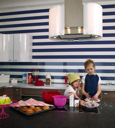 Blue White Stripes In The Kitchen