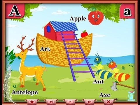 learn alphabet a to z with animated pictures a for apple for kids