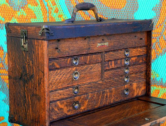 Rustic Antique Wooden Machinist Tool Box / Watchmakers Chest: Industrial Tool Cabinet Organizer -- Hardware / Sewing / Arts & Crafts Storage