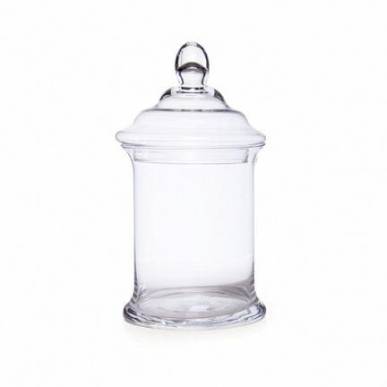 Glass Candy Jar Cylinder W/Lid 16.5Dx32cmH Clear