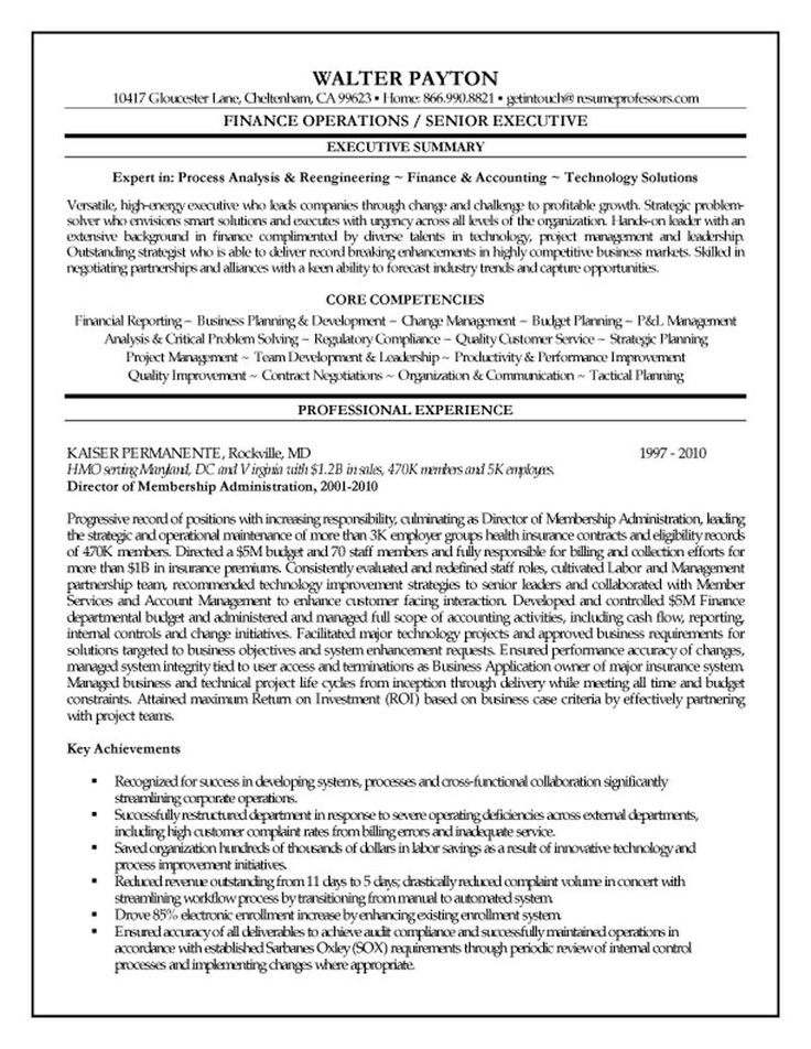 Finance Executive Resume