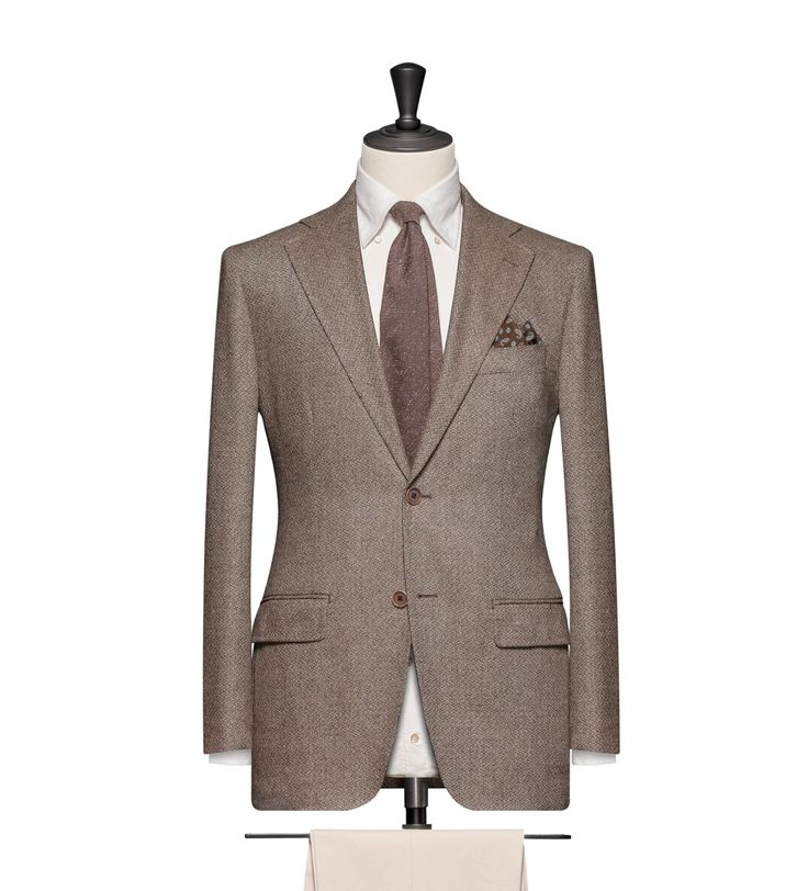 This cloth is a Medium Brown Matka Weave. Cloth Weight: 300g Composition: 90% Wool and 10% Cashmere