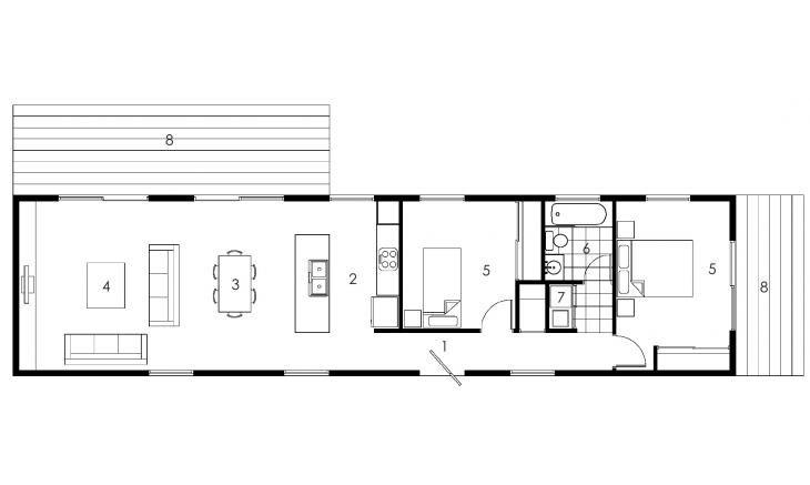 Qubemodular Typec O Rectangle House Plans Narrow House Plans House Plans