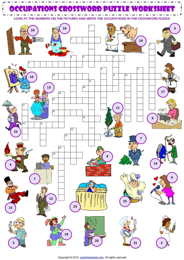 occupations CROSSWORD PUZZLE worksheet LOOK AT THE NUMBERS ON THE PICTURES AND WRITE THE OCCUPATIONS IN THE CROSSWORD PUZZLE 16 24 3 19 10 13 17 11 9 22 7 8 14…