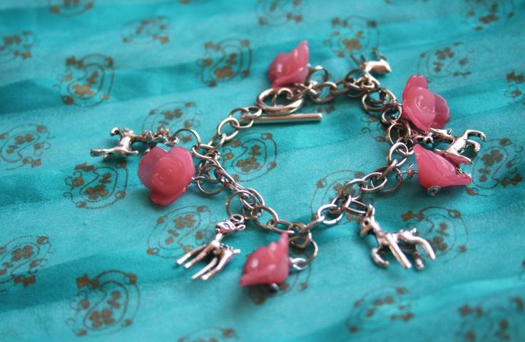 Oh My Deer Sweet OOAK Woodland Wonderland Charm Bracelet. $22.95, via Etsy.