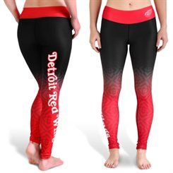 Detroit Red Wings Women's Black Gradient Print Leggings
