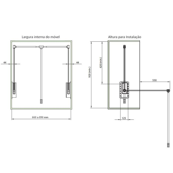 Cabideiro Extensível Cromado FGVTN - Gasometro