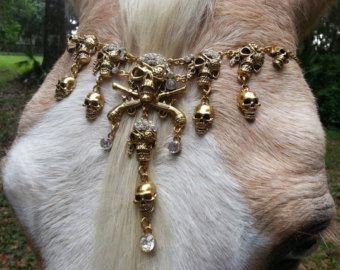Pirate Skulls rendierleer voor paard of Pony  zilveren