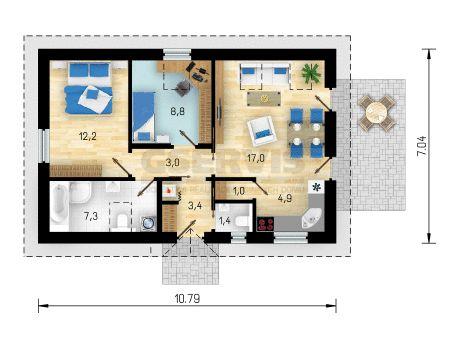 Projekt bungalovu Bungalow 14 - půdorys přízemí