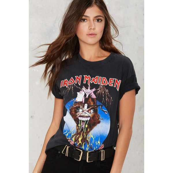 Vintage Iron Maiden Monsters of Rock '88 Tour Tee ($278) ❤ liked on Polyvore featuring tops, t-shirts, black, vintage 80s t shirt, ribbed t shirt, rock t shirts, 80s t shirts and vintage rock t shirts