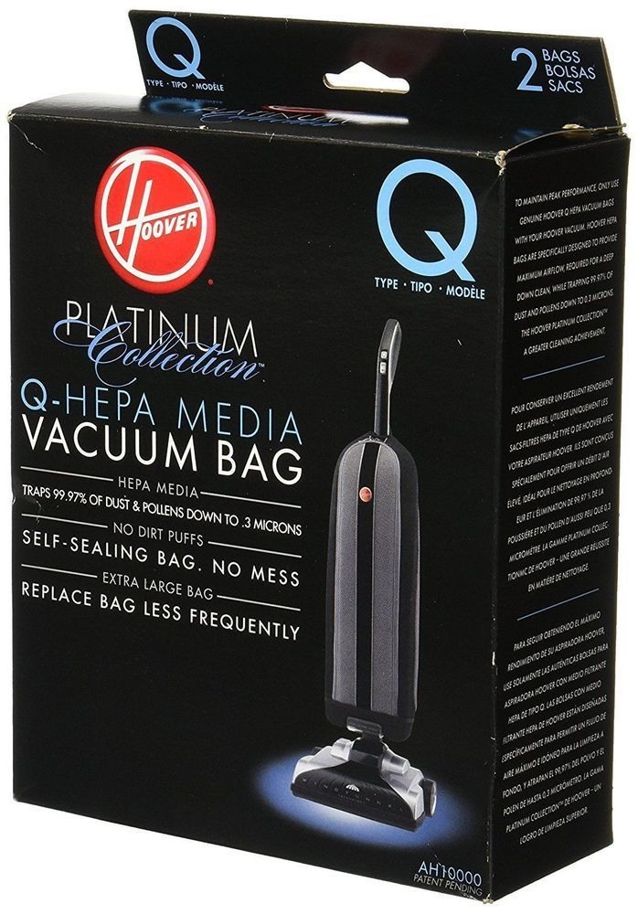 Hoover AH10000 Platinum Type-Q HEPA Media Self Sealing Vacuum Bag, Lot 2 Count. #HOOVER