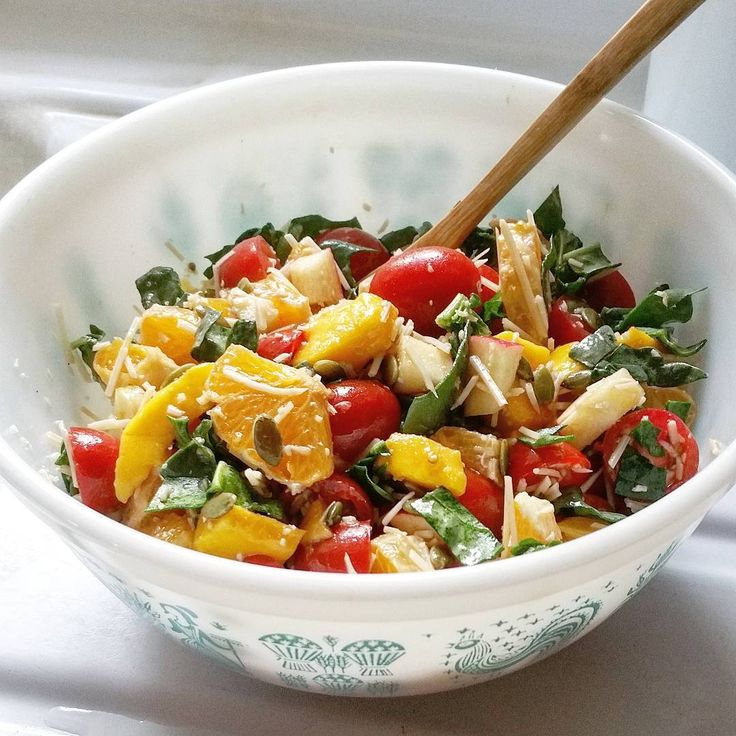 And Now Salad!  #Spinach  #Yellow #Mangos  #Minneola #Tangelo #Oranges  #Grape #Cherry #Tomatoes  #Pink #Lady #Apples  #Parmesan #Cheese  #Raw #Pumpkin #Seeds  #Olive #Oil  #Balsamic #Vinegar  #Red #Salt