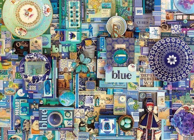 Puzzle COBBLE HILL 51865 Barvy duhy: Modrá 1000 dílků