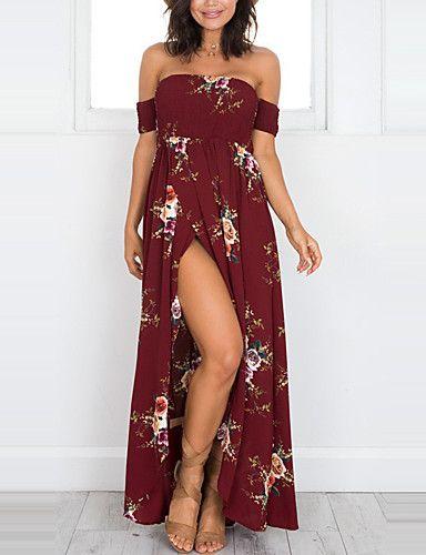 3145443141b554 Women's Beach Holiday Sheath Dress - Floral Backless Split High Rise Maxi  Strapless