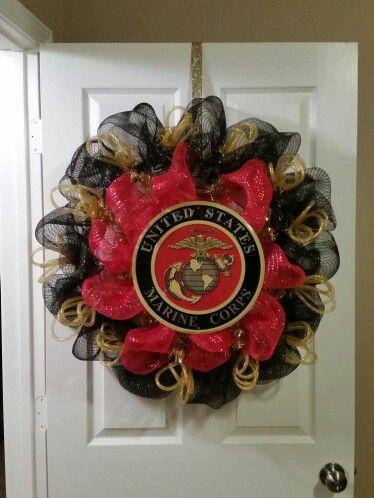Marine Corps Deco Mesh Wreath Made By Nicole Leigh Designs