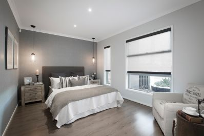 Bedroom Colour Schemes Alluring This Classic Master Bedroom Consists Of A Charcoal And Grey Base Decorating Inspiration