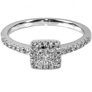 13 carat tw square diamond 10kt white gold engagement ring - Walmart Jewelry Wedding Rings